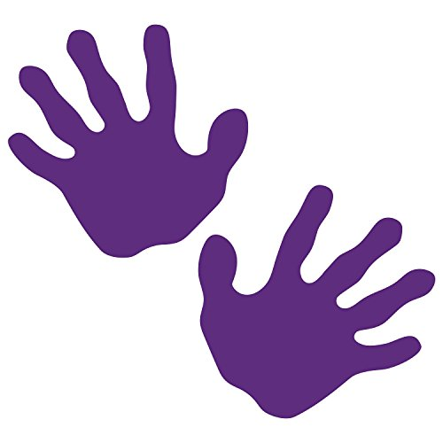 LiteMark Removable Purple 4 Inch Handprint Decal Stickers Walls, Ceiling Floor - Pack of 10 -