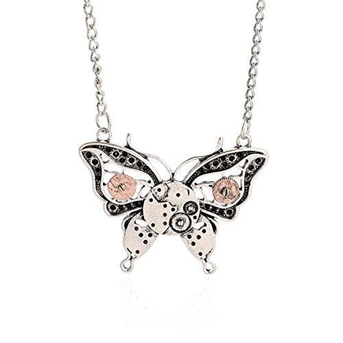 AOLO Antique Silver Butterfly Gear Enbeded Pendant Steampunk Necklace