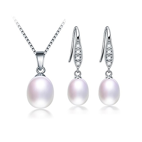 DIAMOVI Freshwater Cultured Genuine Pearls Jewelry Set With Necklace & Earrings By Water Drop Design - Grade AAA Zircon Stones -925 Sterling Silver - Wedding Jewelry -White Color by DIAMOVI