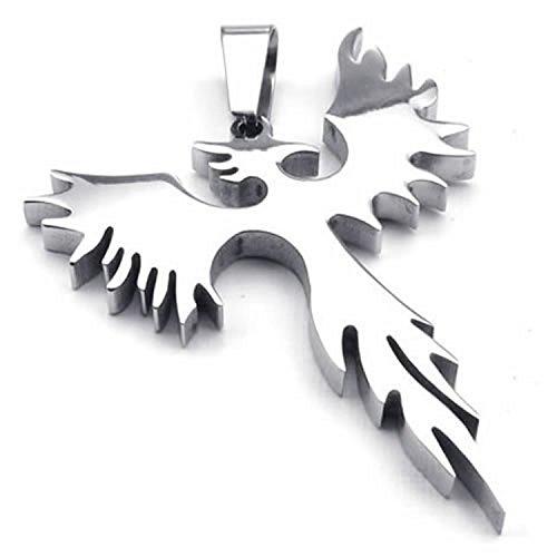 CICI Jewelry Stainless Steel Phoenix Bird Firebird Pendant Biker Mens Necklace, 24 inch Chain ()