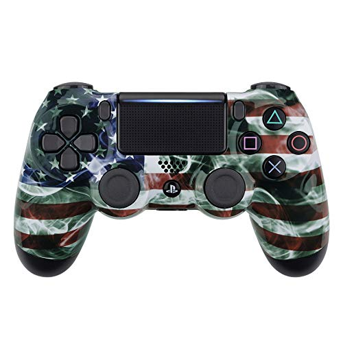 eXtremeRate Mist US Flag Patterned Front Housing Shell Case, Faceplate Cover Replacement Kit for Playstation 4 PS4 Slim PS4 Pro CUH-ZCT2 JDM-040 JDM-050 JDM-055 Controller