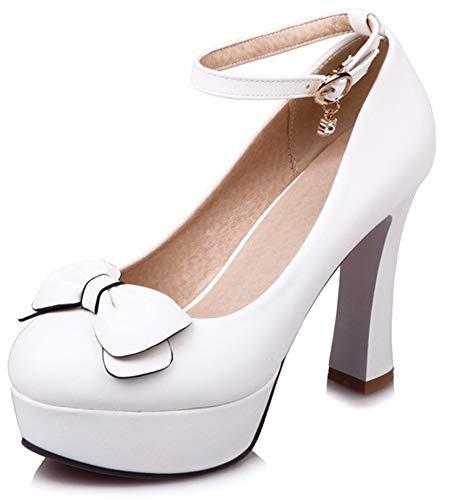 Toe Bowknot Low Cut - SFNLD Women's Elegant Bowknot Round Toe Low Cut Platform High Chunky Heels Ankle Strap Pumps Shoes White 5 M US