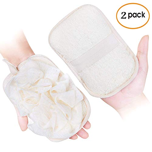 mikimini Bath Mitt for Women, Bath Pouf Mesh Brushes 2 Packs Set | Loofah Sponge & Exfoliating Pad 2 in 1 Professional Design | Exfoliating Gently with the Elastic Hand Strap or Wearing the Mitten Brush Loop Mat Charcoal