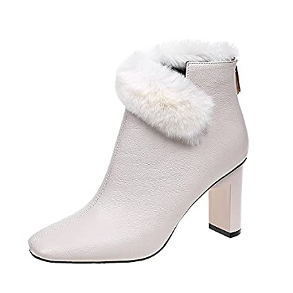 774b037f0558 HSXZ Women s Shoes Fleece Leatherette Winter Spring Fashion Boots Bootie  Boots Chunky Heel Square Toe Booties