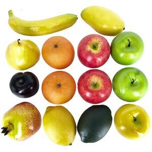 Dasksha 14PCS Lifesize Realistic Fruit Set - Fake Fruit for Decoration - NOT A Child's Toy - Set Includes Fake Apples, Oranges, Bananas, Limes 22