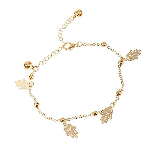 Chaîne Bracelet de Cheville Perles Buddha Cloches Dorées Plage Bijoux