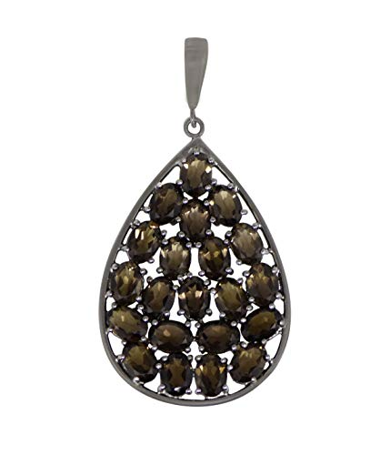 Oval Cut Smoky Quartz Gemstone Pendant 925 Sterling Silver Jewelry