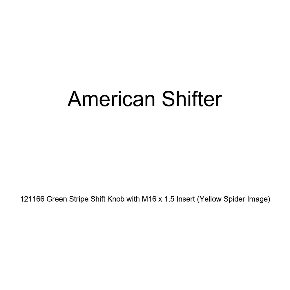 Yellow Spider Image American Shifter 121166 Green Stripe Shift Knob with M16 x 1.5 Insert