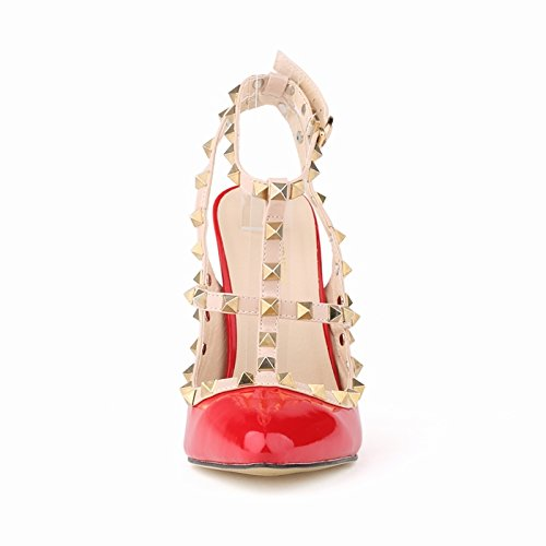 Candy Color Pumps Womens PU Custom Made Dress Red Leather Rivet Hollow Out IXIa4Tq