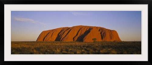 greatBIGcanvas Rock formations on a landscape, Ayers Rock, Uluru-Kata Tjuta National Park, Northern Territory, Australia Photographic Print with Black Frame, 48