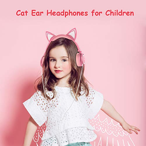 Isightguard Kids Headphones, Wired Headphones On Ear, Cat Ear Headphones with LED for Girls, 3.5mm Audio Jack for Cell Phone,Pink by isightguard (Image #1)
