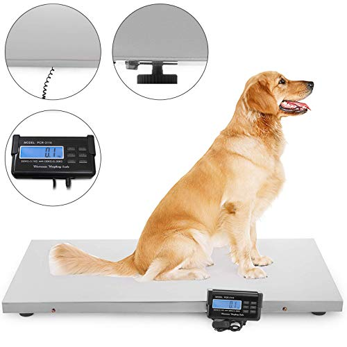 Happybuy 660lbs Digital Livestock Scale Large Pet Vet Scale 43.3x21.6inch Stainless Steel Platform Electronic Postal Shipping Scale Heavy Duty Large Dog Hog Sheep Goat Pig Sheep Scale (2 - Stock Scale