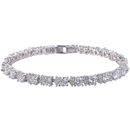 EVER FAITH® Silver-Tone Cubic Zirconia December Birthstone Elegant Single Row Roman Tennis Bracelet (Roman Head Wear)