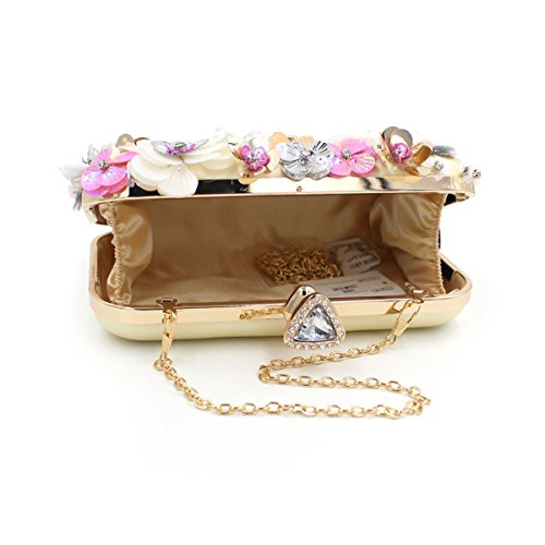 Handbag Gold 2 Clutches for Girl's Bag Purse Evening Rhinestone Beaded Wedding Colored Party Flada Elegant 8p7xYqw6Ow