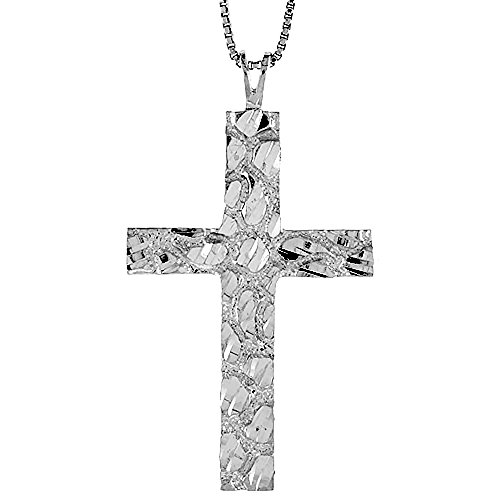 Sterling Silver Nugget Cross Pendant, 1 3/4 inch -