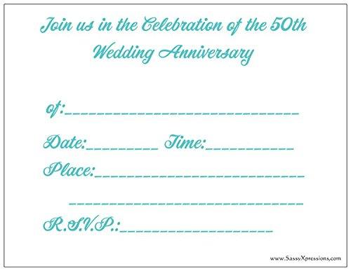 Rose 50th Wedding Anniversary Invitations - 50/pk