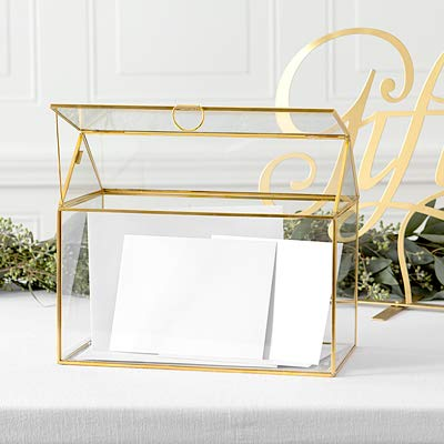Cathy's Concepts Terrarium Gift Card Holder – Gold, Glass & Brass Construction, Perfect for Wedding Receptions, Graduations & More