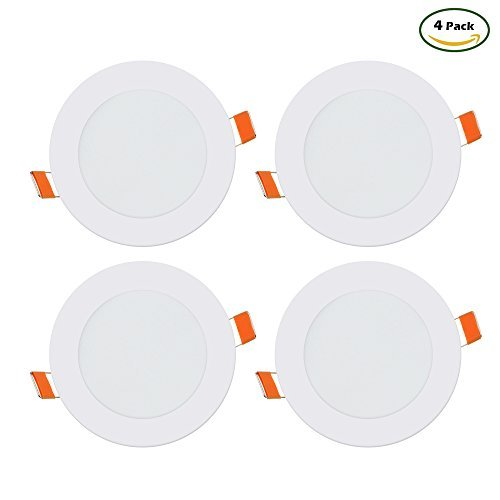 B2ocled LED Panel Light, 6W(50W Replacement) ,3000K Warm White Ceiling Lamps, Super Bright Ultra-thin Downlight, Pack of 4 (Round)