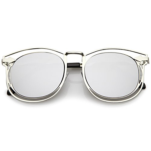 sunglassLA - Oversize Open Metal Horn Rimmed Sunglasses With Arrow Design And Round Mirror Flat Lens 55mm (Silver/Sil)