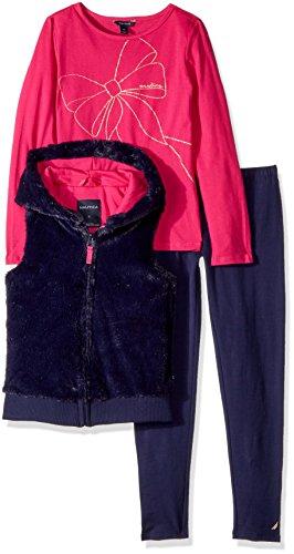 Nautica Big Girls' Three Piece Vest Sets, Navy, 7 (Piece Three Vest)