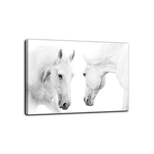 ee1281cf904 AMEMNY Two Modern White Horses Canvas Paintings on Canvas Contemporary Wall  Art Giclee Framed Artwork HD Printed Picture to Photo Decor for Living ...