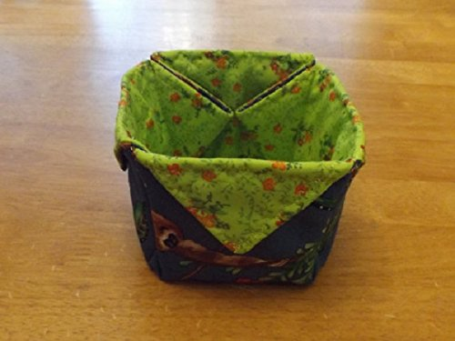 Handmade Quilted Fabric Basket, Jungle and Floral Fabric Trinket Basket or Box, Gift Box, Gift Basket, Jewelry Basket