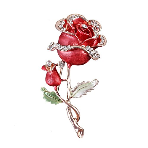 Reizteko Womens Belle Red White Purple Violet Rose Flower Enamel Crystal Rhinestone Brooch Pin Golden Tone (Red) ()