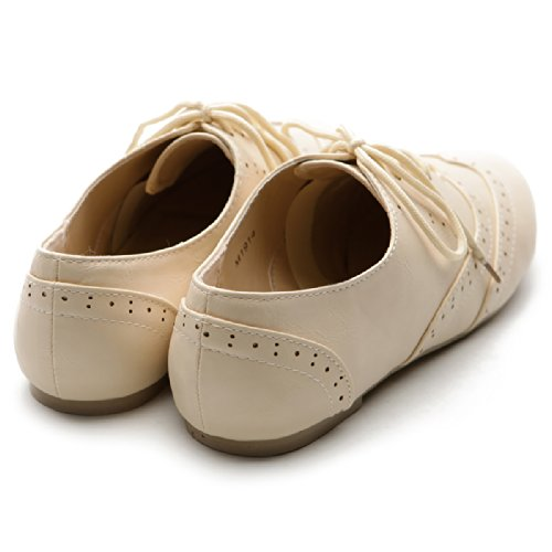 Oxford Dress Heel Lace Classic Shoe Low Ollio Flat Beige Up Women's Bq1p7WS