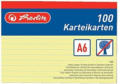 Herlitz 1150507 Karteikarte A5 liniert, 100 Stück, weiß