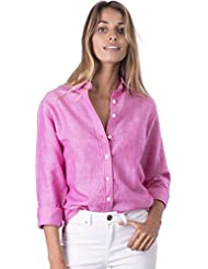 CAMIXA Womens Natural Cool Linen Button-Down Loose Shirt | Summer Winter Casual Chic