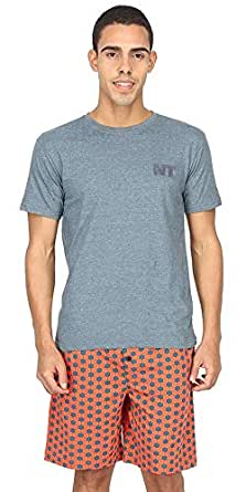 Nuteez Multicolor Cotton Tee And Short Set For Men