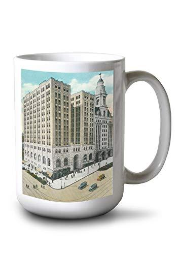 Lantern Press Albany, New York - Exterior View of The National Savings Bank BLDG (15oz White Ceramic Mug)