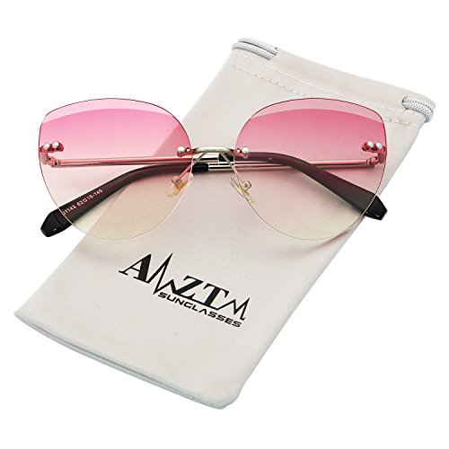 AMZTM Street Style Cat Eye Eyewear Frames Rimless Shades Fashion Butterfly Driving Glasses Gradient Ocean Lenses Womens Classic Retro Cute Sunglasses (Gradient Pink Orange, - Shades Cute
