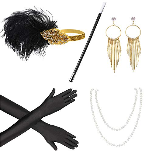 - Beelittle 1920s Accessories Headband Earrings Necklace Gloves Cigarette Holder (F4)