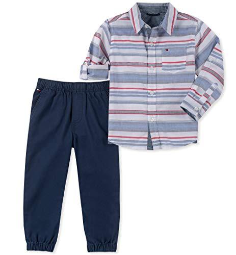 (Tommy Hilfiger Baby Boys 2 Pieces Shirt Pants Set, Stripes/Blue 3-6 Months)