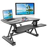 Good Life Electric Height Adjustable Standing Desk 35'' Wide Platform Vertical Converter Riser Stand Up Sit Stand Desk Monitor Stand Computer Table Black ELC391
