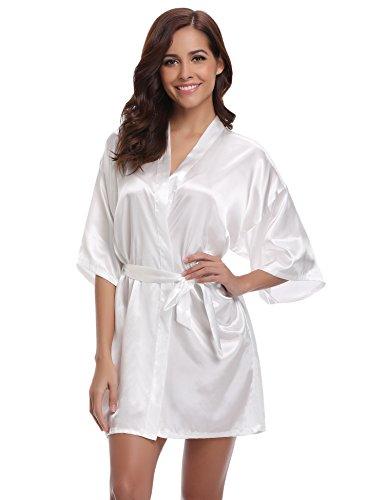 - Women's Kimono Robes Satin Pure Colour Short Style with Oblique V-Neck Robe White