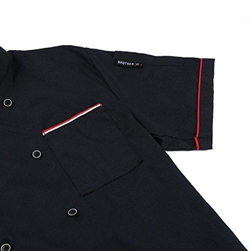 Tiaobug Été À Manches Courtes Double Boutonnage Chef Manteau Veste De Chef Uniforme Pour Les Hommes Femmes Noires