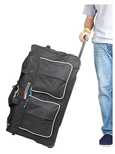 Large Duffel 29 Wheeled (Billtmore 1800 Denier Heavy Duty 29 Inch 8 Pocket Airline Approved Wheeled Rolling Duffel)