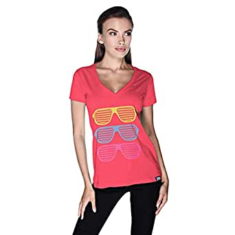 Creo Beach Cool Glasses T-Shirt For Women - Xl, Pink