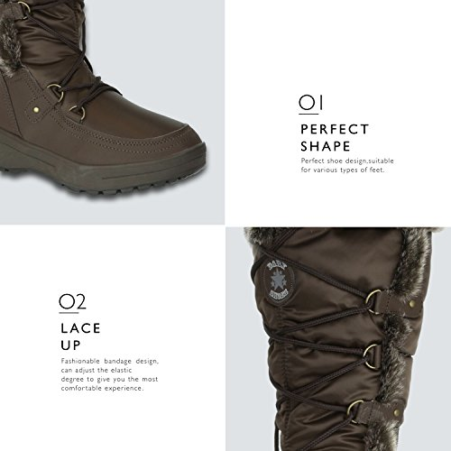 Woman's Brown Resistant Warm Knee Snow Women's Eskimo Boots DailyShoes Water up Fur High w7AcH