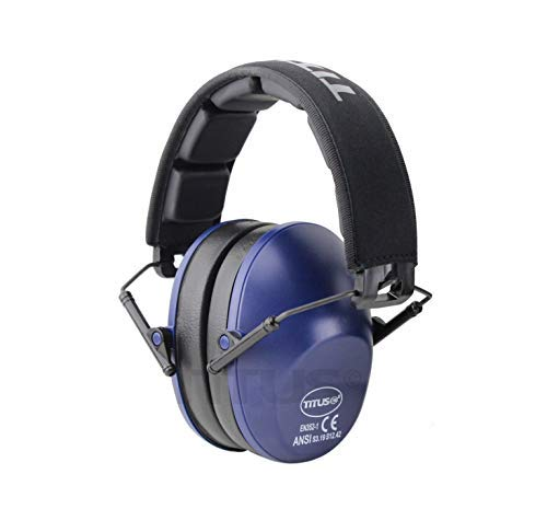 Low Set Earmuff - Titus Low-Profile High Decibel NRR Safety Earmuffs (No Pouch, Navy Blue)