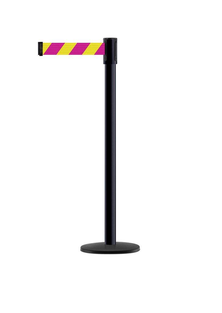Tensabarrier - 890B-33-33-33-STD-NO-D5X-C - black post, 2'' wide, 7'6'' length Chevron Magenta & Yellow belt