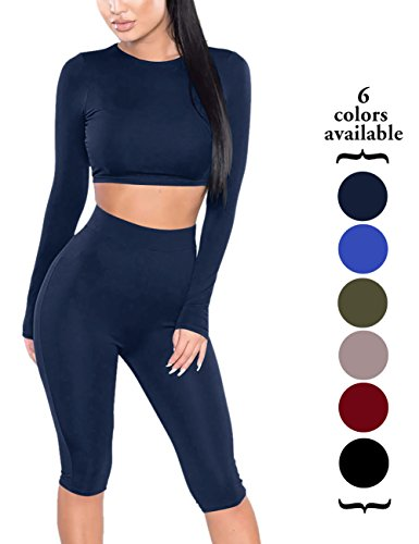 Amilia Womens Sexy Long Sleeve Crop Tops High Waist Leggings 2 Piece Bodycon Set Casual Outfit Tracksuit (M, Navy Blue) (Spandex Sexy)