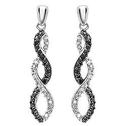 Round Black & White Diamond Swirl Dangling Earrings