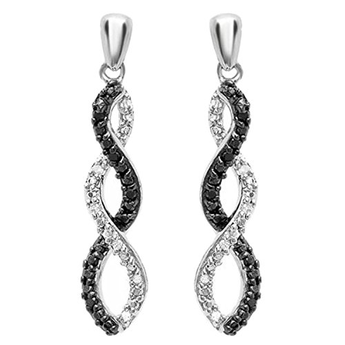 Dazzlingrock Collection 0.07 Carat (ctw) Round Black & White Diamond Ladies Infinity Swirl Dangling Earrings, Sterling Silver