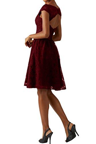 Rosa Spitze Ivydressing Weiss Modisch Rund Partykleider KnieKnielang Cocktail Abendkleider Kurz Abschlusskleider Damen 7qaBP74w