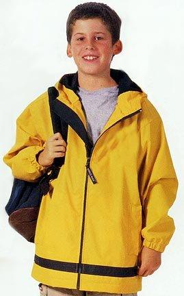 Charles River Apparel Youth New Englander Rain Jacket, Medium, Yellow/Navy