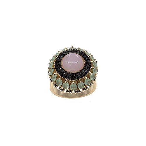 Rose Quartz Vintage Luxury Design Ring AAA Cubic Zirconia Ethnic Jewelry (RS2202-GD, 9) (Vintage Ring Quartz)