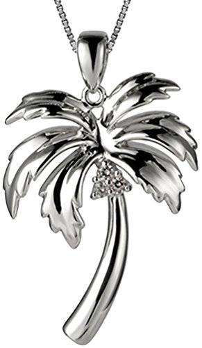 Sterling Silver Hawaiian Jewelry Palm Tree Pendant (M) with 18